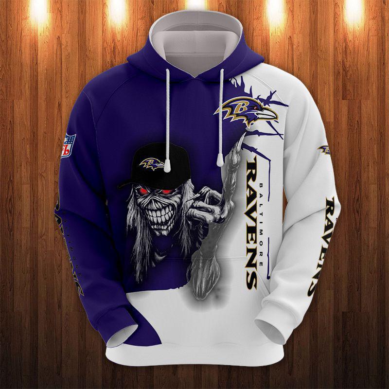 Baltimore Ravens Hoodie Iron Maiden skull